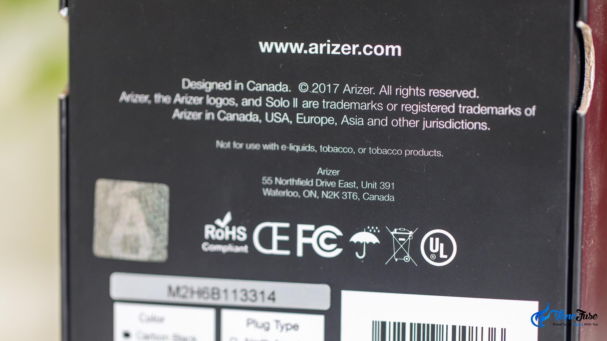 Arizer vaporzier box with UL mark
