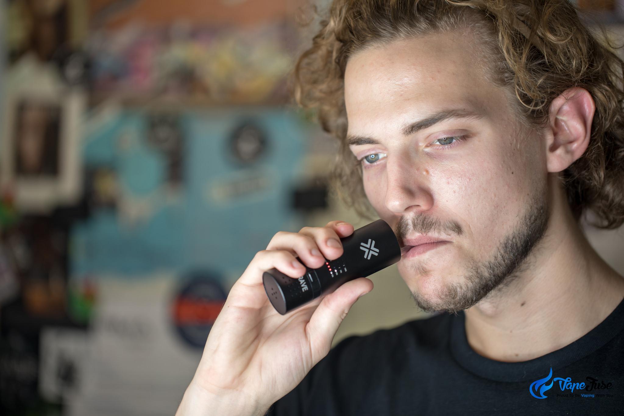 Matt using a Portable Vaporizer