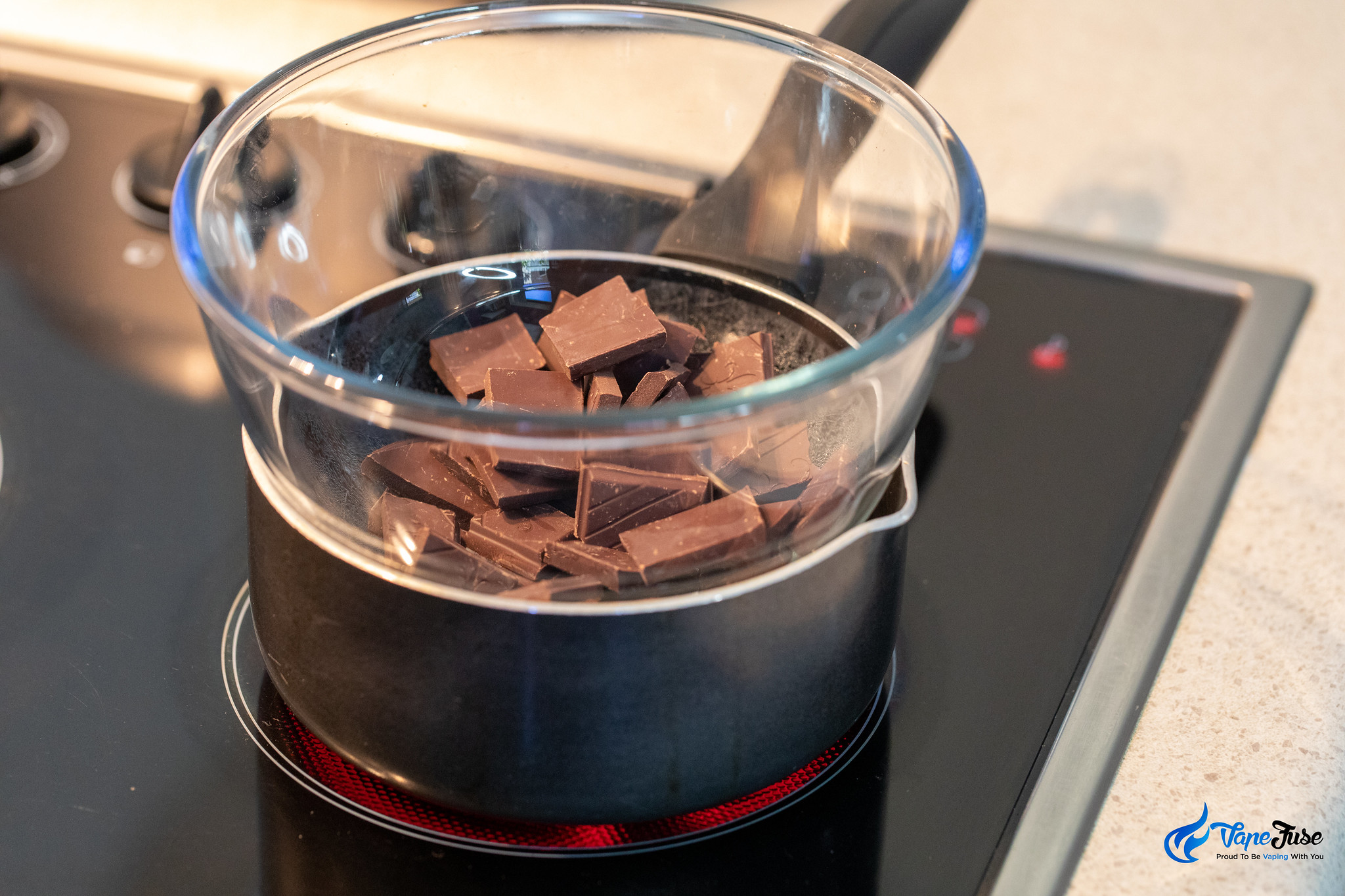 Chocolate melting in double boiler