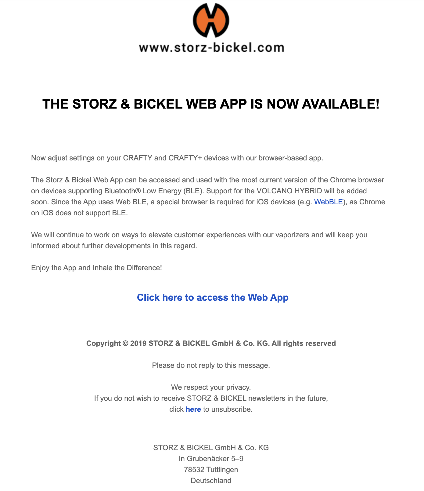 Storz and Bickel email about web app