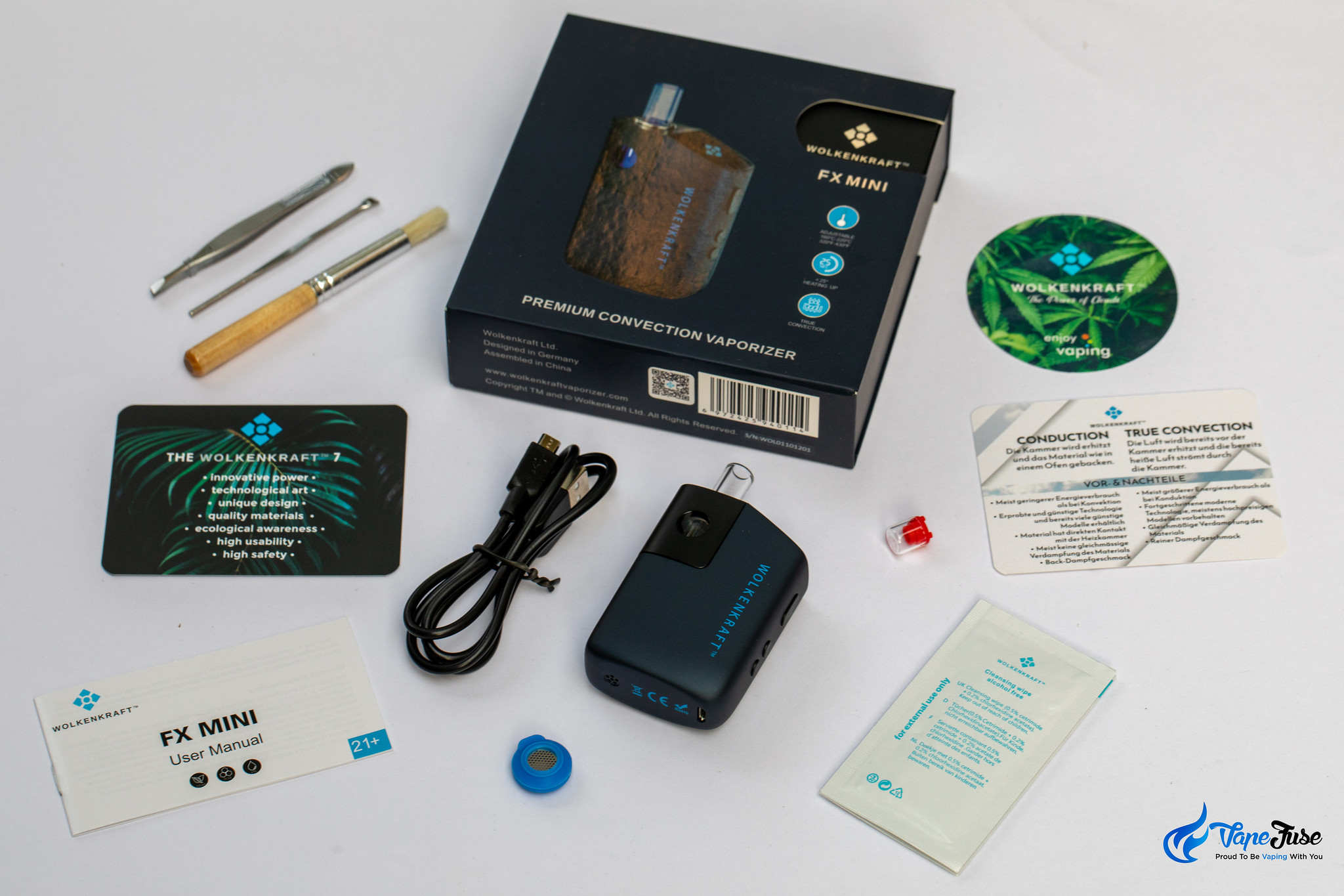 Wolkenkraft FX Mini Dry Herb Vaporizer kit inclusions